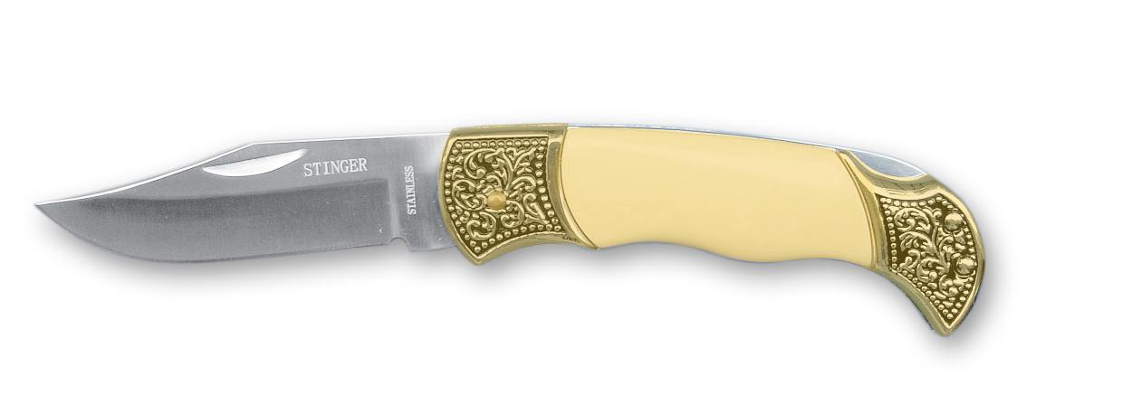 Нож складной Stinger, 109 мм (золотистый), рукоять: сталь/пластик (серебристо-белый), короб.картонStinger<br>Нож складной Stinger, 109 мм (золотистый), рукоять: сталь/пластик (серебристо-белый), коробка картон<br>