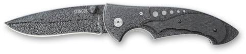 Нож складной Stinger, 110 мм (серебр.-черн.), рукоять: сталь/пластик (черн.), с клипом, коробка картон нож складной stinger sa580dc цвет черный камуфляж 8 4 см