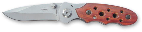 Нож складной Stinger, 95 мм (серебристый), рукоять: сталь/дерево (серебр.-корич.), коробка деревоStinger<br>Нож складной Stinger, 95 мм (серебристый), рукоять: сталь/дерево (серебристо-коричневый), коробка дерево<br>