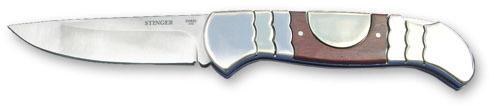 Нож складной Stinger, 93 мм (серебристый), рукоять: сталь/дерево (серебр.-корич.), коробка металл