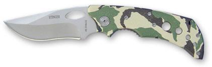 Нож складной Stinger, 87 мм (серебр.), рукоять: сталь/пластик (камуфляж), с клипом, коробка картон