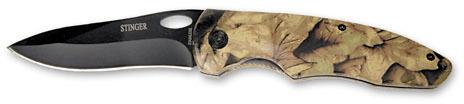 Нож складной Stinger, 93 мм (черный), рукоять: сталь/пластик (камуфляж), коробка картон