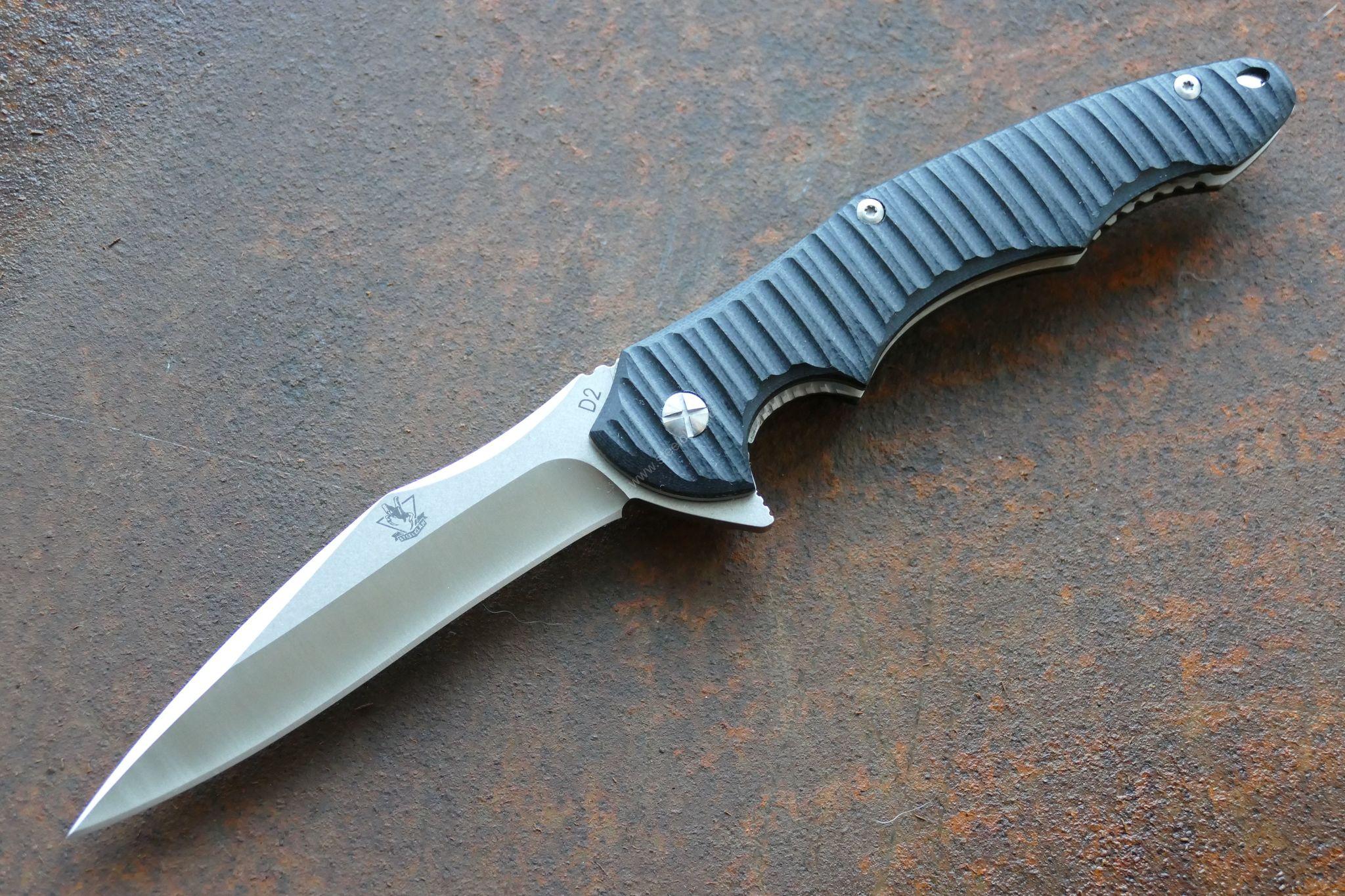 Складной нож Ракшас, D2Раскладные ножи<br>марка стали :D2твердость:59-61 HRCдлина общая:252ммдлина клинка:110ммтолщина обуха:4ммвес: 170 гртип замка:liner lockмеханизм открытия: IKBS<br>