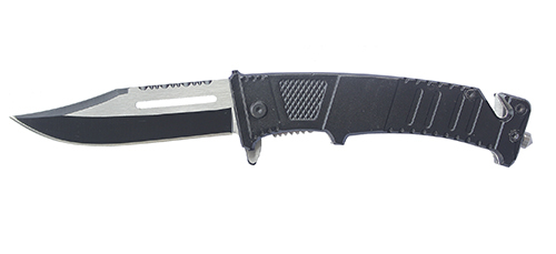 Нож складной Stinger, 75 мм (сереб.-черн.), рукоять: сталь/алюмин. (черн.), с клипом, коробка картон