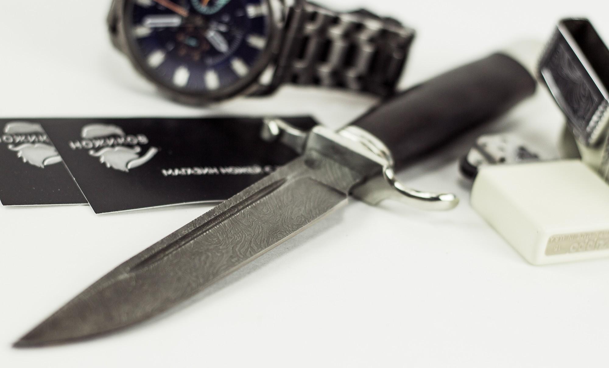 Фото 2 - Нож Финка НКВД, дамасская сталь, мельхиор от АТАКА