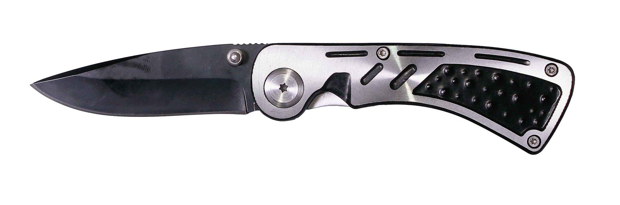 Нож складной Stinger, 68 мм (черный), рукоять: сталь (серебристо-черный), с клипом, коробка картон