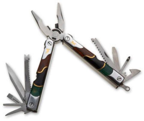 Мультитул Stinger, сталь/дерево (серебристо-коричнево-черный), 10 инструментов, нейлон. чехол, коробка картон - Nozhikov.ru