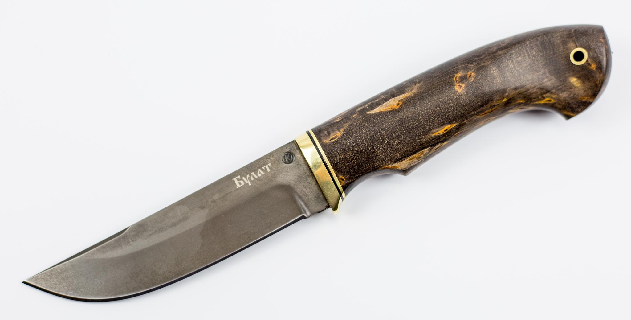 Нож Овод булат, карельская березаНожи Ворсма<br>Длина рукояти (мм) 115Твердость клинка 61-62Длина клинка (мм) 115Ширина клинка (мм) 29Толщина клинка 2,8Сталь-булат.Рукоять-латунь, фибра, стабилизированная карельская береза коричневая.Вес-150г.<br>