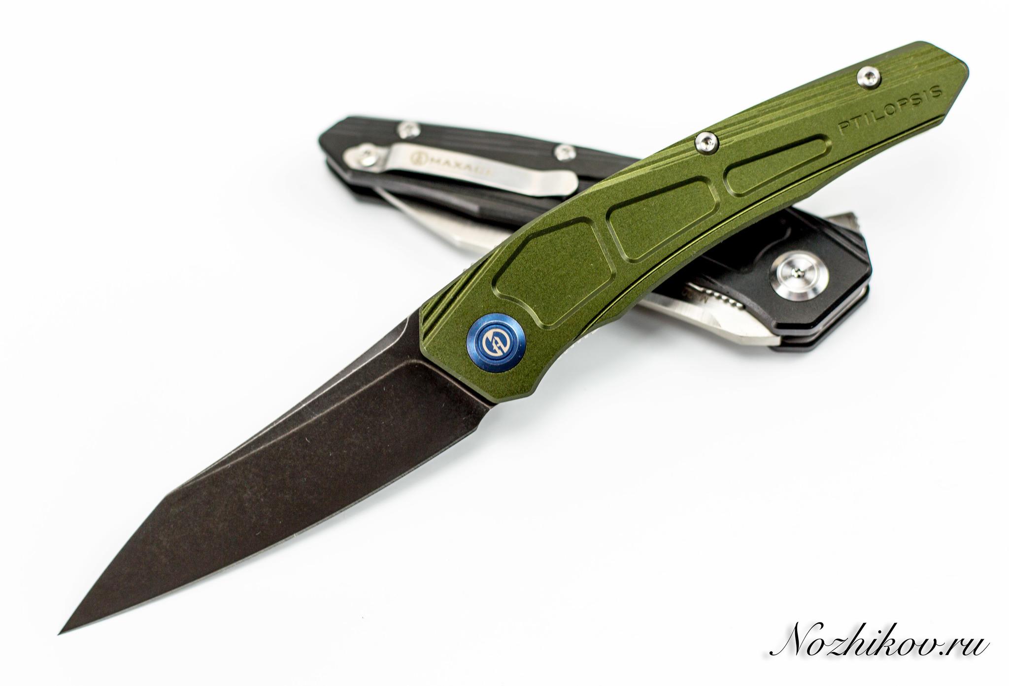 Складной нож Maxace Ptilopsis Green, сталь M390Раскладные ножи<br>СКЛАДНОЙ НОЖ MAXACE PTILOPSIS СТАЛЬ M390 сочетает в себе инновационные материалы, современный дизайн и максимально брутальный внешний вид. Такой нож станет звездой в любой коллекции. Нож можно носить при себе, или можно поместить на коллекционный ложемент и любоваться. Клинок ножа выполнен из порошковой стали высокой твердости, что обеспечивает сохранность режущей кромки в течение длительного времени. Нож легко затачивается до бритвенной остроты. Рукоятка ножа выполнена из облегченного титанового сплава, который используется в космической промышленности.<br>