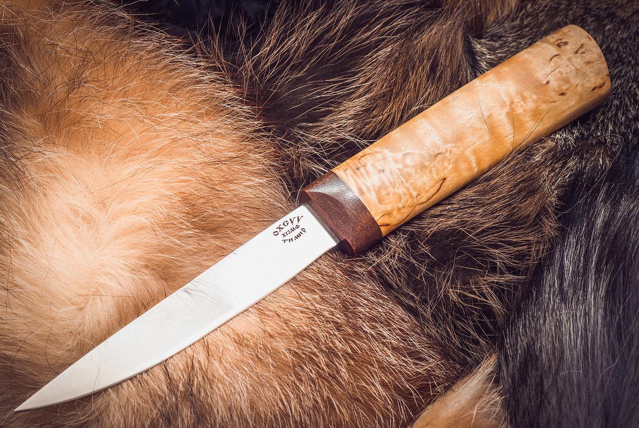 Якутский малый нож, карельская березаНожи Ворсма<br>Сталь: Х12МФРукоять: Карельская береза<br>