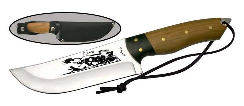 Нож Телец40х13<br>Oбщая длина- 290 мм Длина клинка- 150 мм Толщина клинка- 4 Сталь- 40Х13Рукоять- дерево Чехол- кордура<br>