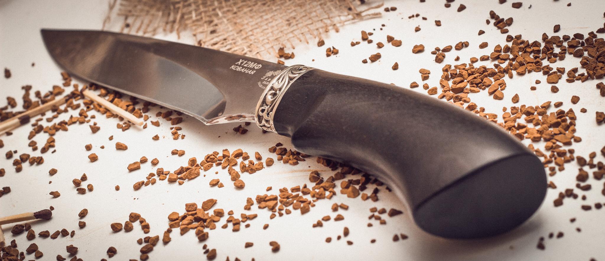 Нож Акула, кованый Х12МФ,  черный граб