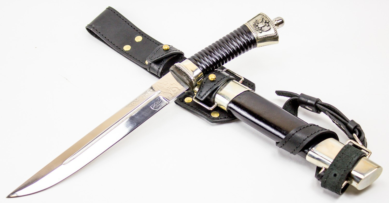 Нож Пластунский с резьбой, сталь 95x18, мельхиор