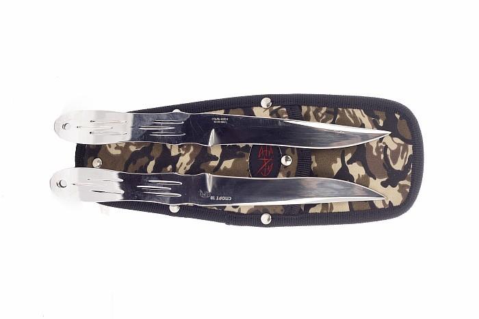 Набор ножей СПОРТ-1840х13<br>Набор из 2 метательных ножейСПОРТ-18<br>Длина клинка: 125 ммТолщина лезвия: 4,5 ммОбщая длина: 240 ммНожны: КордураСталь: 40Х13<br>