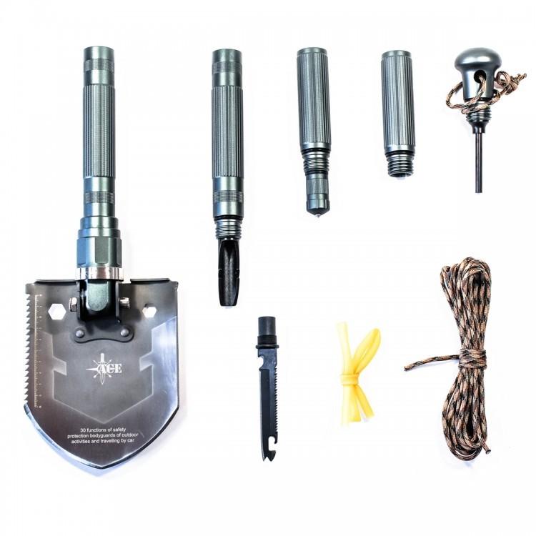 Многофункциональная лопата ACE А3Ganzo<br>Лопата ACE — прекрасный выбор для автомобилистов, садоводов, туристов, любителей кемпинга и походов, так как может заменить собой сразу множество необходимых инструментов и приспособлений, которые могут понадобиться во время различных мероприятий на свежем воздухе.<br>Общая длина инструмента в собранном состоянии составляет 53,8см, ширина рабочего полотна — 12,8см. Черенок лопаты изготовлен из алюминиевого сплава, имеет цепкую не агрессивную накатку; сборные части плотно крепятся на резьбы, отмечается полное отсутствие люфтов. Материалом для лопаты служит высокоуглеродистая сталь, что позволяет добиться достойных эксплуатационных показателей.<br>Доступный инструментарий данной модели включает в себя ряд приспособлений, которые являются базовыми для портативной туристической лопаты и встречаются в остальных модификациях лопат ACE.<br>Инструментальная подборка включает в себя следующие орудия и приспособления:<br><br>лопата<br>ледоруб<br>паракорд<br>жгут<br>молоток-стеклобой<br>многофункциональная нож-пила<br>сумка<br>огниво<br>компас<br><br>На все изделия ACE прилагается пожизненная гарантия, позволяющая любому обладателю оригинального продукта, получить обоснованное обслуживание.<br>