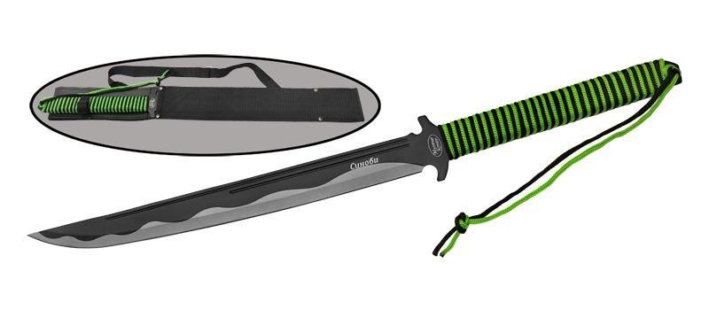Мачете Синоби420<br>Oбщая длина- 599 мм Длина клинка- 458 мм Толщина клинка- 1,9 мм Сталь- 420Рукоять- резинопластик Чехол- нейлон<br>