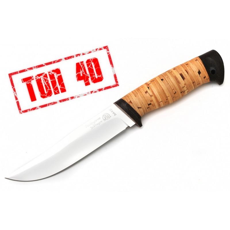 Нож Марал береста, ЗлатоустНожи Златоуст<br>Нож Марал береста, Златоуст<br>Общая длина 245±10,0;Длина клинка 135±5,0;Толщина клинка 2,2±0,2;Сталь ЭИ-107Рукоять берестаТыльник и гарда - текстолитТвердость клинка 56-58;<br>