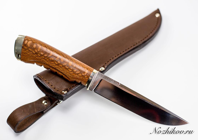 Нож Рабочий №18 из кованой стали Bohler K110Ножи Павлово<br>Сталь: K110Рукоять: рукоять лайсвуд, литье мельхиорДлина клинка (мм.): 145 Наибольшая ширина клинка (мм.): 28 Толщина обуха клинка (мм.): 3.4 Толщина подвода (мм.): 0,3-0,5 Твердость стали: 61-63Hrc Общая длина ножа (мм.): 270 Поверхность клинка: Сатин Спуски клинка: Прямые<br>