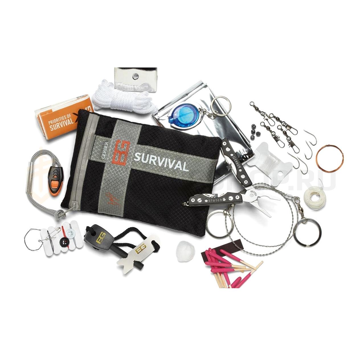 Комплект выживания Ultimate KitПодарочные наборы ножей<br>Вашему вниманию представлен универсальный набор, существенно повышающий шанс выжить в условиях дикой природы. Попадая в непредвиденные ситуации и экстремальные условия для выживания, в комплекте набора Вы всегда обнаружите те полезные инструменты, с помощью которых легко совладать с любыми неприятностями. Комплект серии Survival Ultimate - полезная вещь в Вашем рюкзаке, походной сумке, бардачке машины. В наборе также предусмотрена инструкция сигналов SOS и руководство для выживания в диких природных условиях.<br>Комплектация из 23 предметов:<br><br>Крестовая отвертка.<br>Кусачки.<br>Открывалка для бутылок.<br>Пила по дереву.<br>Пинцет.<br>Плоская отвертка (маленькая).<br>Плоская отвертка (средняя).<br>Плоскогубцы.<br>Прямое лезвие.<br>Серрейторное лезвие.<br>Свисток.<br>Огниво.<br>Водонепроницаемые спички.<br>Нейлоновые струны для изготовления ловушек.<br>Аварийный шнур.<br>Хлопковый трут.<br>Кольцо для вытяжного шнура.<br>Фонарик.<br>Зеркало для подачи сигналов.<br>Термо-одеяло.<br>Вощеная нить.<br>Крючки для ловли рыбы.<br>Швейные принадлежности.<br><br>Особенности комплекта:Материал: пластик, металл, картон, полипропилен.Размеры упаковки: 14,3 х 11,4 х 17,3 см.Упаковка: блистер на картоне.Назначение: набор путешественника.<br>