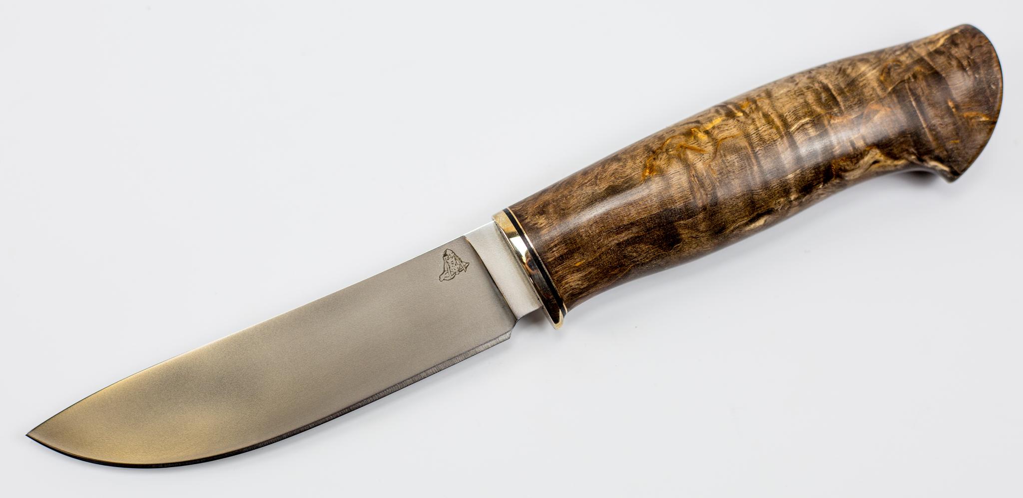 Нож Скинер, M390, мельхиор, карельская березаНожи Ворсма<br>Нож Кроха<br>
