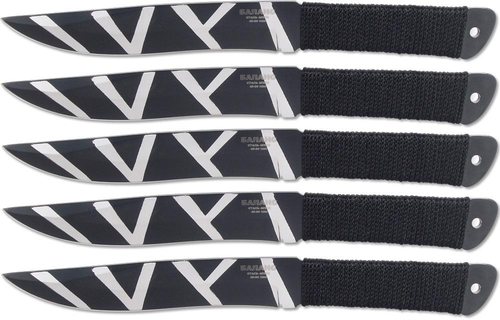 Набор из 5 ножей для спортивного метания M-112-240х13<br>длина клинка, мм - 145толщина клинка, мм - 4общая длина, мм - 255материал рукояти - нейлоновый шнур и стальчехол - нейлонсталь - 40Х13твёрдость стали, hrc 45 — 50<br>