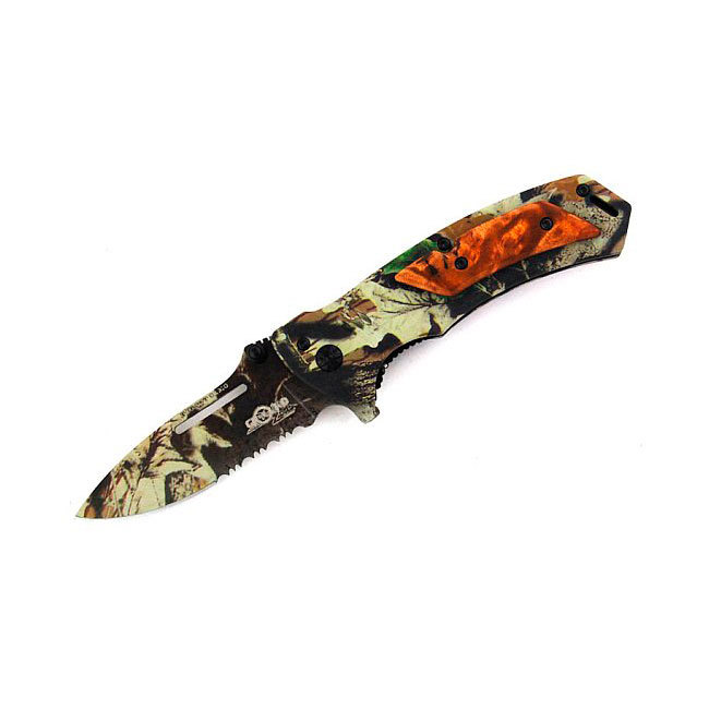 Складной нож Target Camo8Cr13Mo<br>Характеристики:Общая длина 192ммДлина клинка 80ммТолщина обуха 3ммШирина клинка 28ммТолщина рукояти 12ммВес 100грСталь 8Cr13MoVТвердость 58<br>