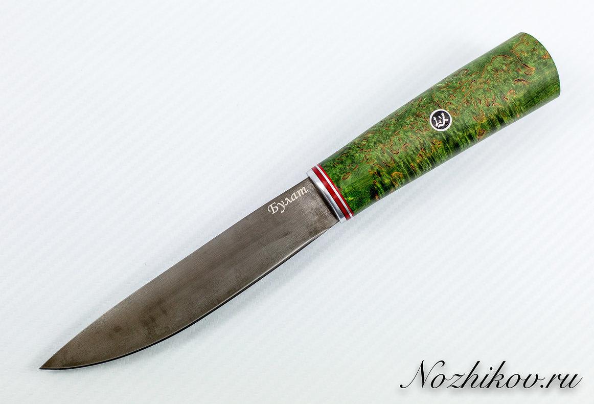 Нож Якутский булат, стабилизированная карельская берёза