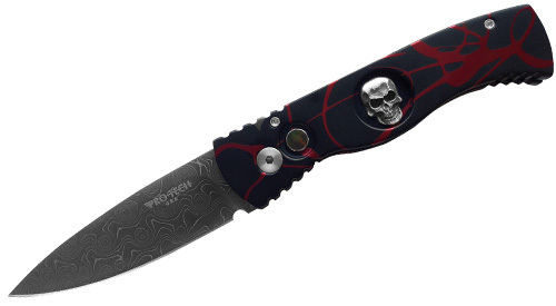 Автоматический складной нож Custom TR-2 Skull P.K. Splash D. Thomas Damascus автоматический складной нож tr 2 limited bruce shaw skull mother of pearl push button inlay
