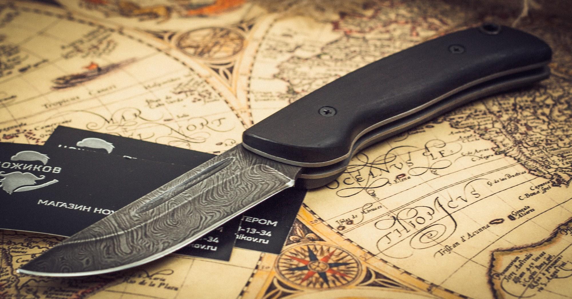 Фото 2 - Складной нож Морвин, дамаск, граб от Марычев