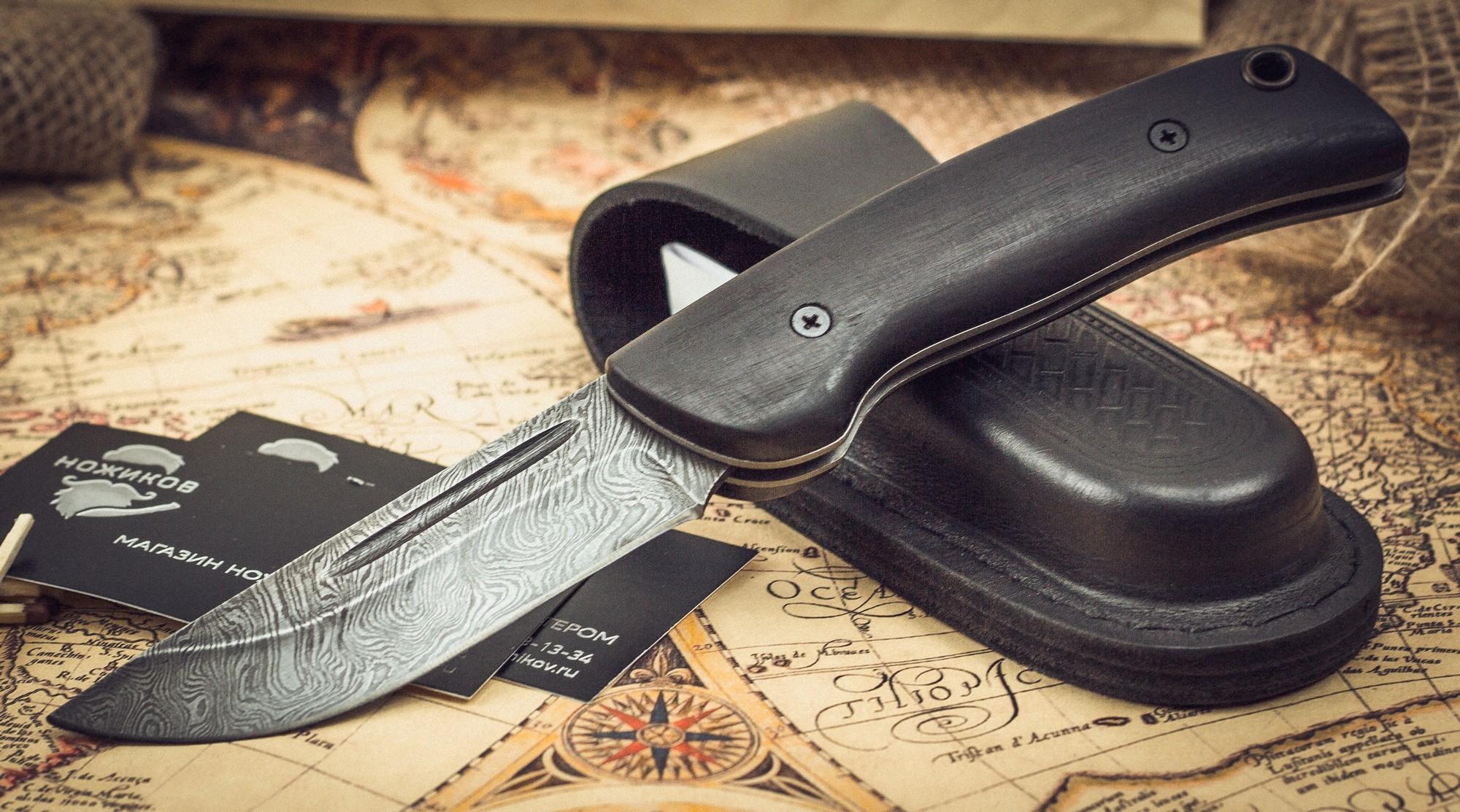 Фото 3 - Складной нож Морвин, дамаск, граб от Марычев