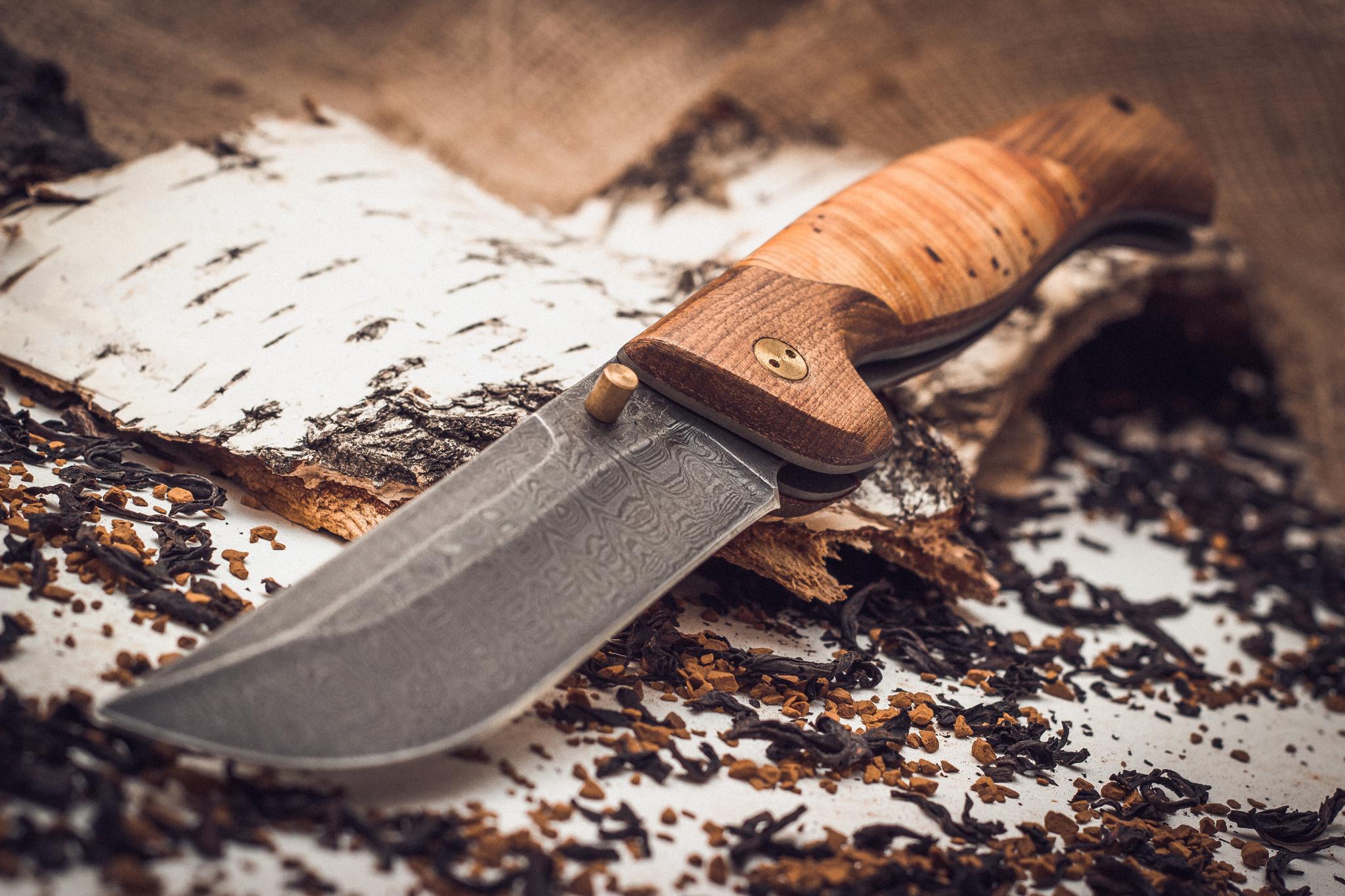 Фото 2 - Складной нож Страж 2, дамаск, береста от Марычев