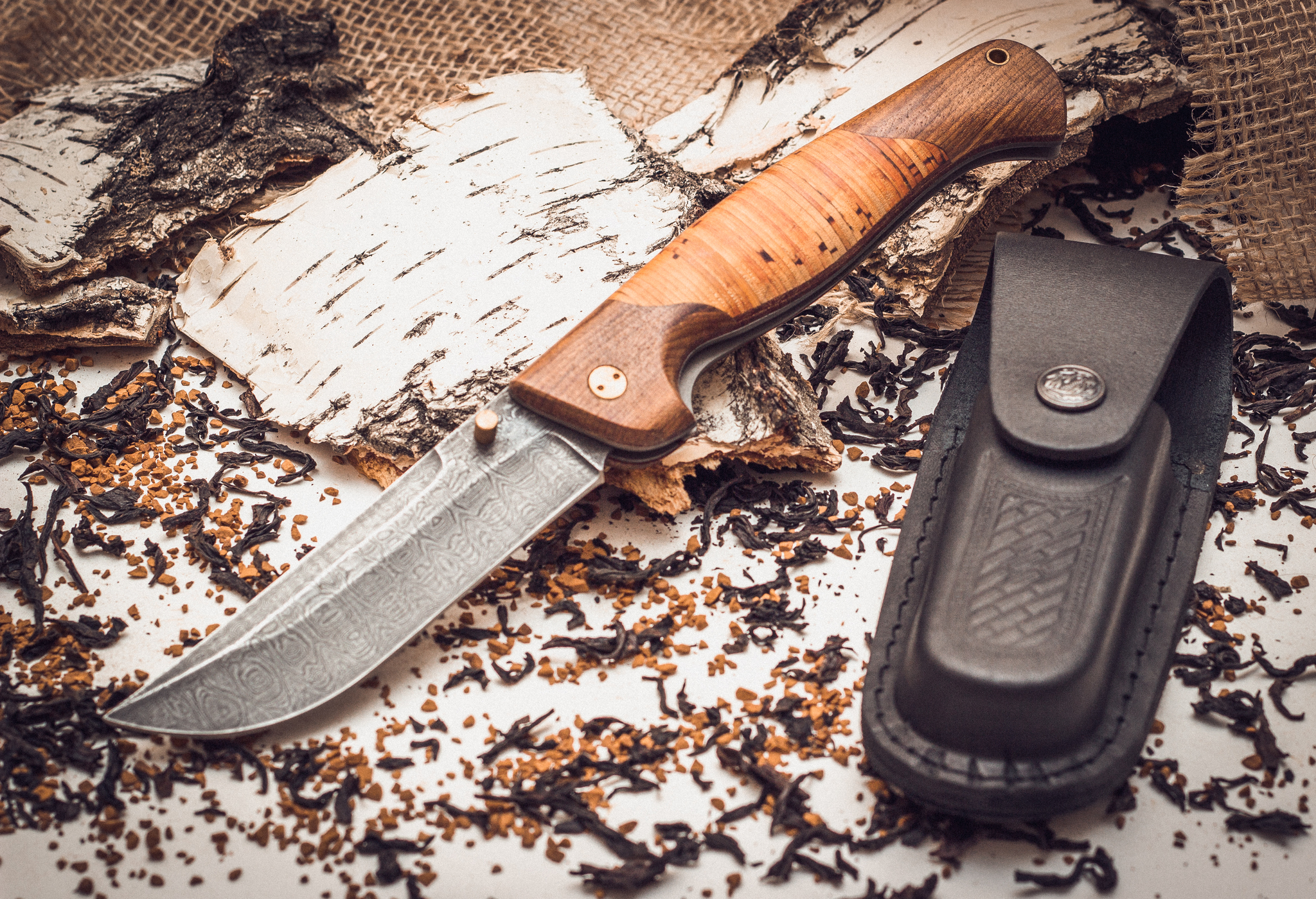 Фото 3 - Складной нож Страж 2, дамаск, береста от Марычев
