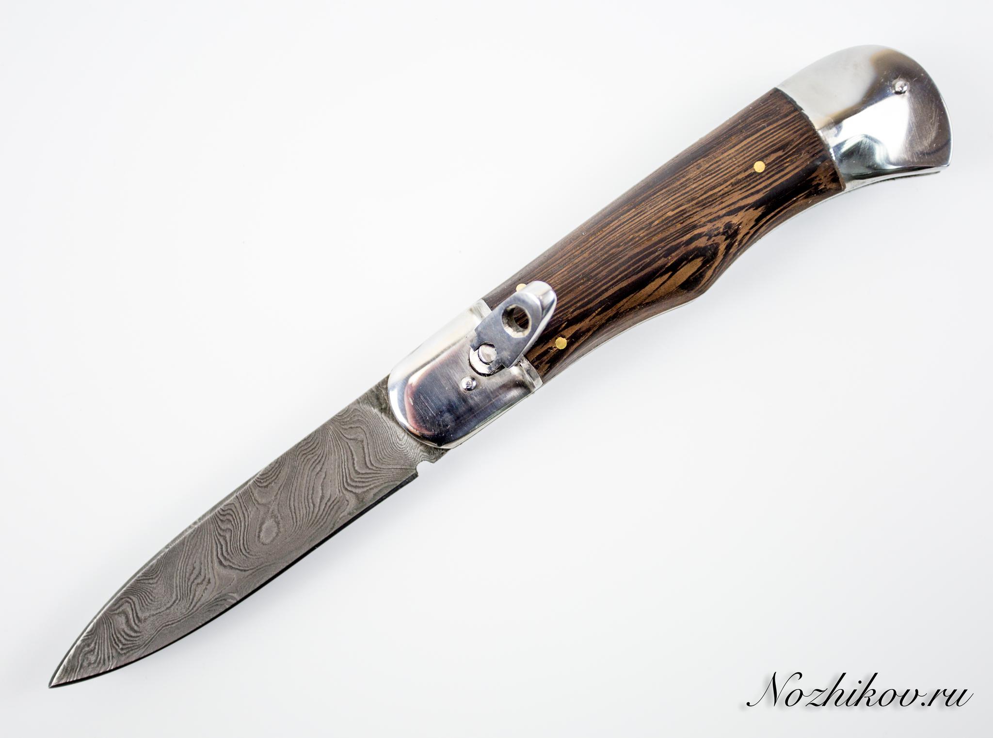Выкидной нож Фантомас, дамаскНожи Ворсма<br>Автоматический нож с боковым выбросом клинка.<br>Клинок копьевидной формы с односторонней заточкой.<br>Накладки рукояти из эбенового дерева.<br>