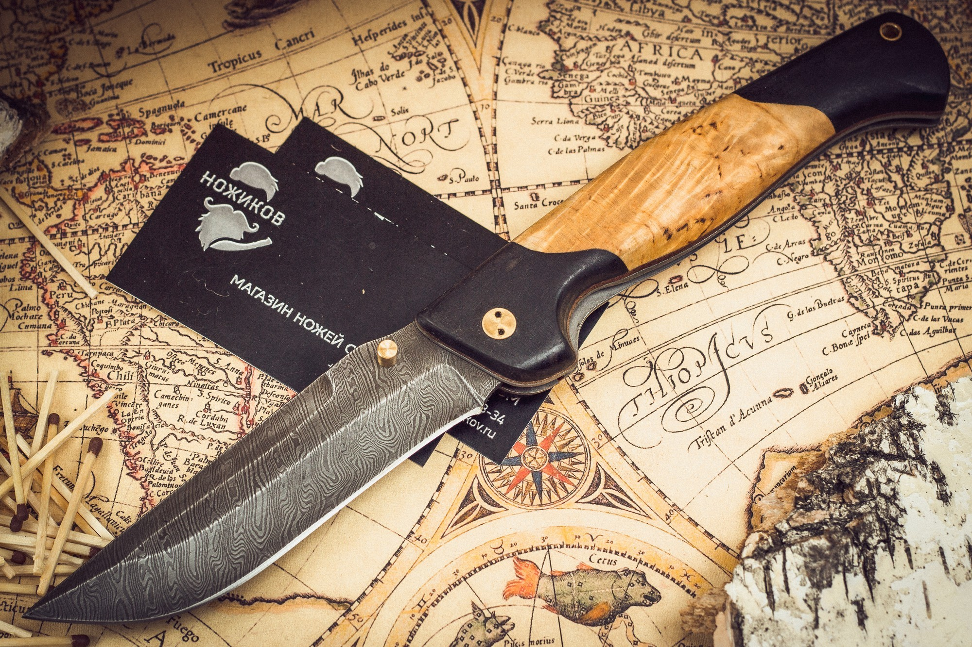 Складной нож Актай-2, дамаск, карельская березаРаскладные ножи<br><br>