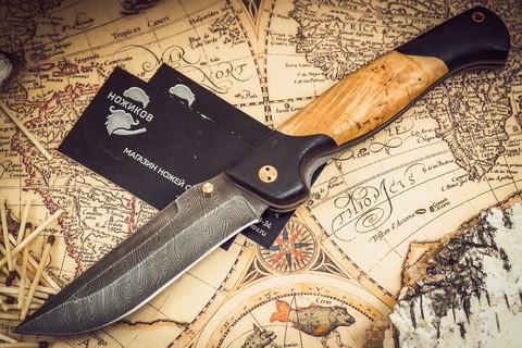 Складной нож Актай-2, дамаск, карельская береза - Nozhikov.ru