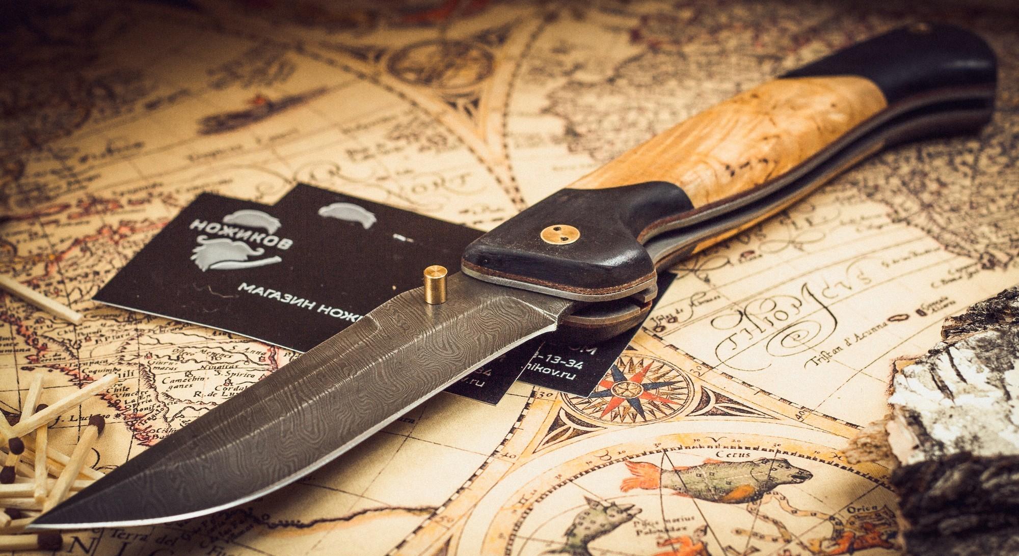 Фото 3 - Складной нож Актай-2, дамаск, карельская береза от Марычев