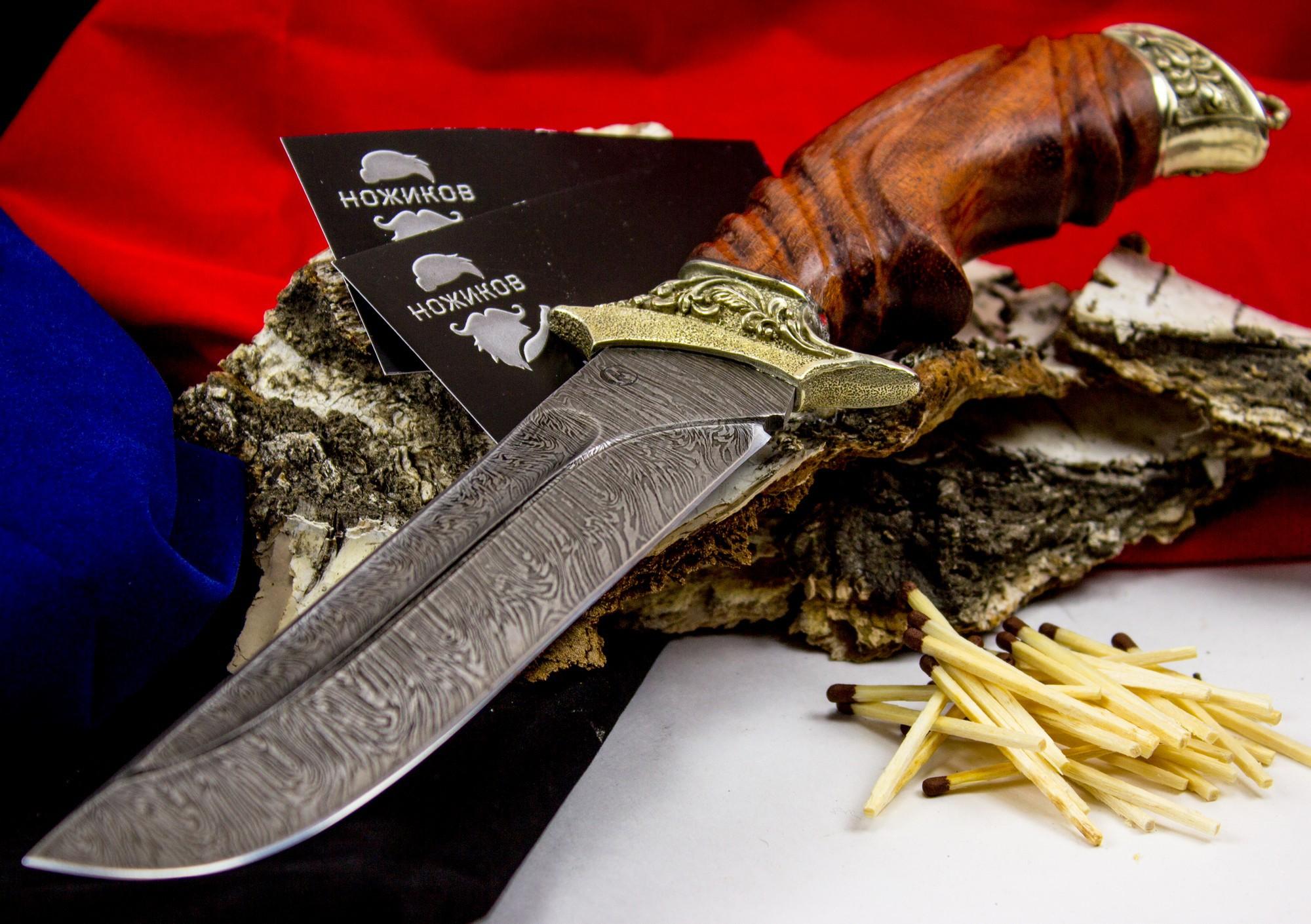 Фото 2 - Нож Варяг с резной рукоятью,  дамасская сталь, литье скорпион от Кузница Семина