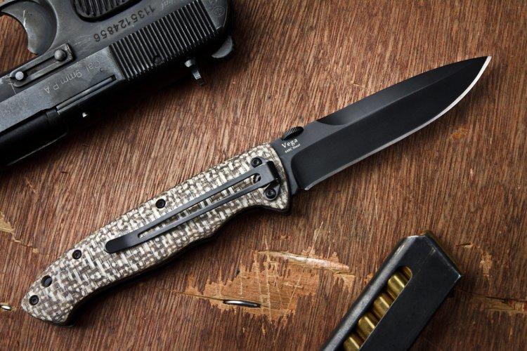 """Складной нож Vega 440C Black от Магазин ножей """"Ножиков"""""""