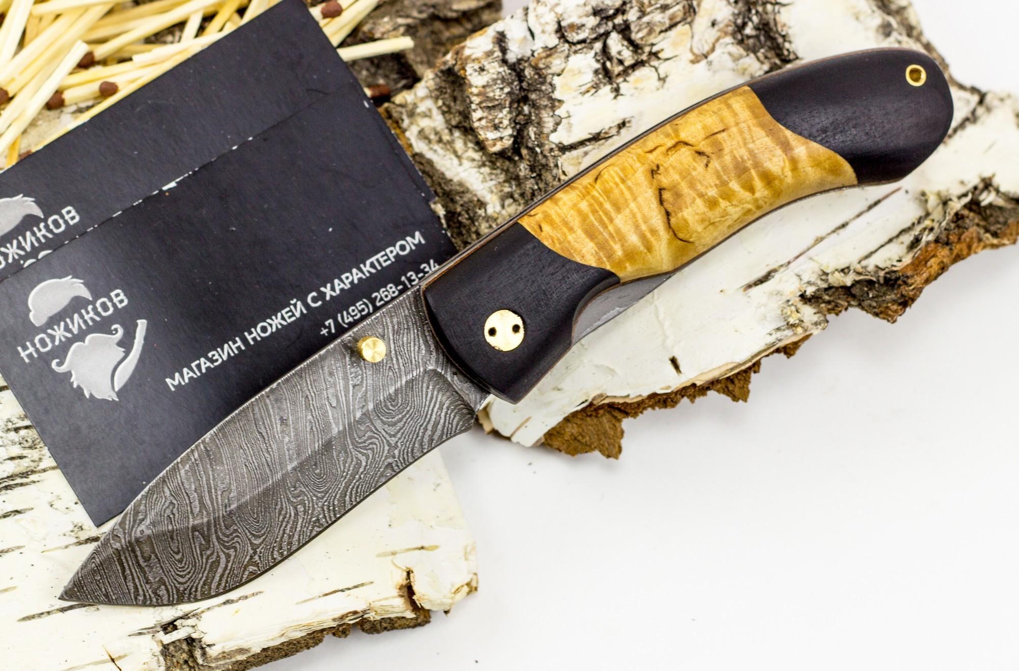 Нож складной Егерский-2, дамаск, карельская березаРаскладные ножи<br><br>