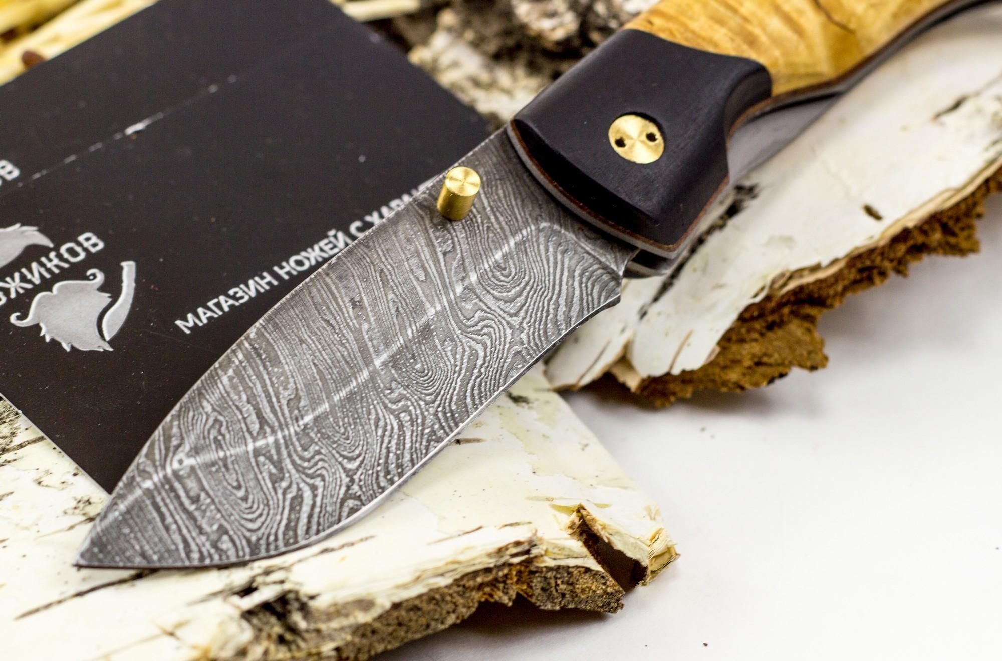 Фото 2 - Нож складной Егерьский-2, дамаск, карельская береза от Марычев