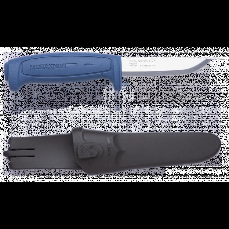 Нож Morakniv Basic 546, синийШведские ножи Mora<br>Mora Basic 546 new новинка из бюджетной серии Mora of Sweden. Благодаря небольшой цене этот нож доступен каждому. Обновленная получила более эргономичную рукоятку, которая обеспечивает идеальный захват. Нож Mora Basic 546 new оснастили прочным лезвием из нержавеющей стали.<br>Mora Basic 546, как и большинство ножей Mora of Sweden, комплектуется ножнами, которые также получили новый дизайн. На ножнах есть специальная клипса, которая позволять соединять несколько штук вместе.<br>Не является холодным оружием и не является предметом запрещенным к продаже на территории Российской Федерации.<br>