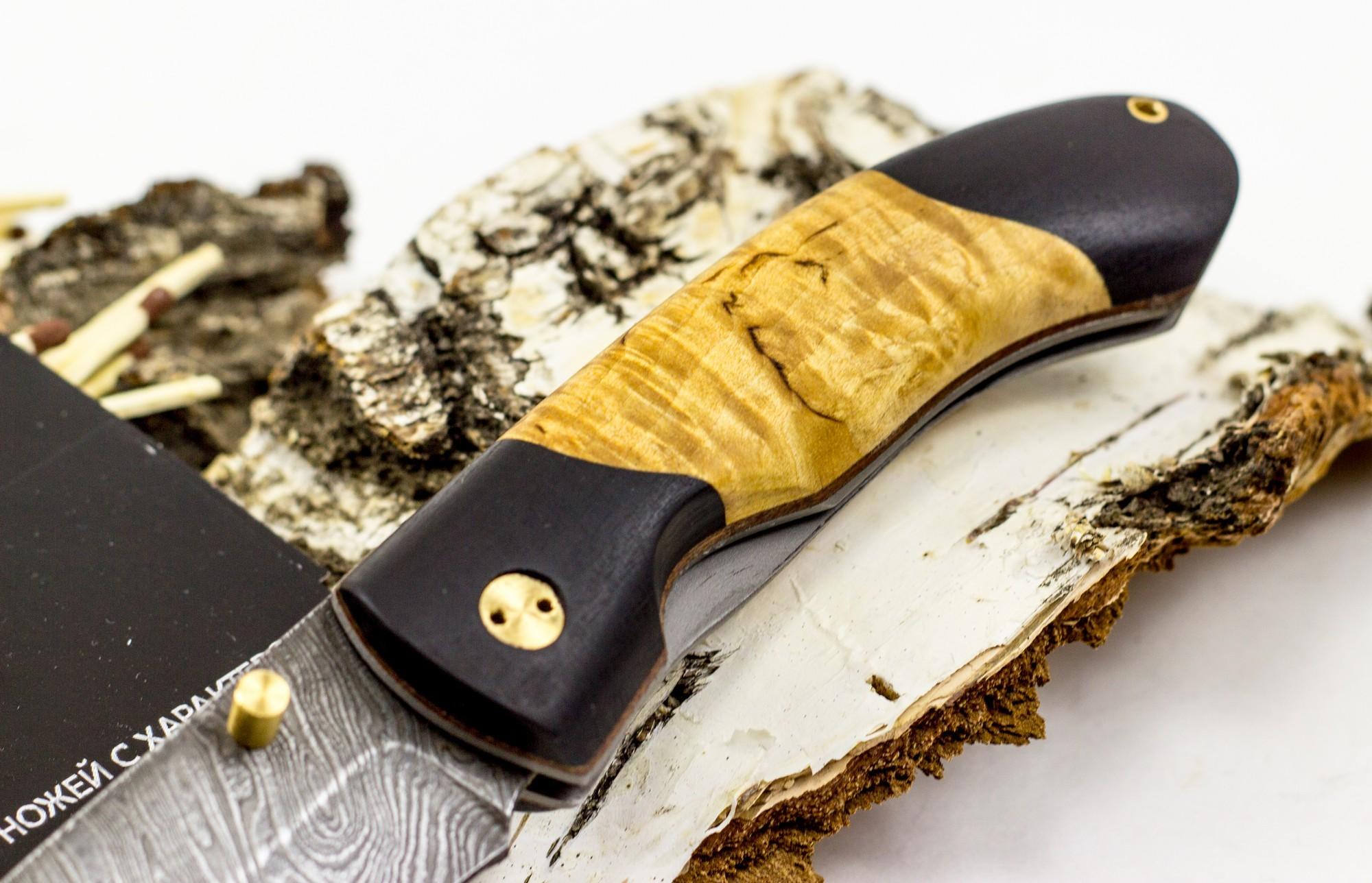 Фото 3 - Нож складной Егерьский-2, дамаск, карельская береза от Марычев