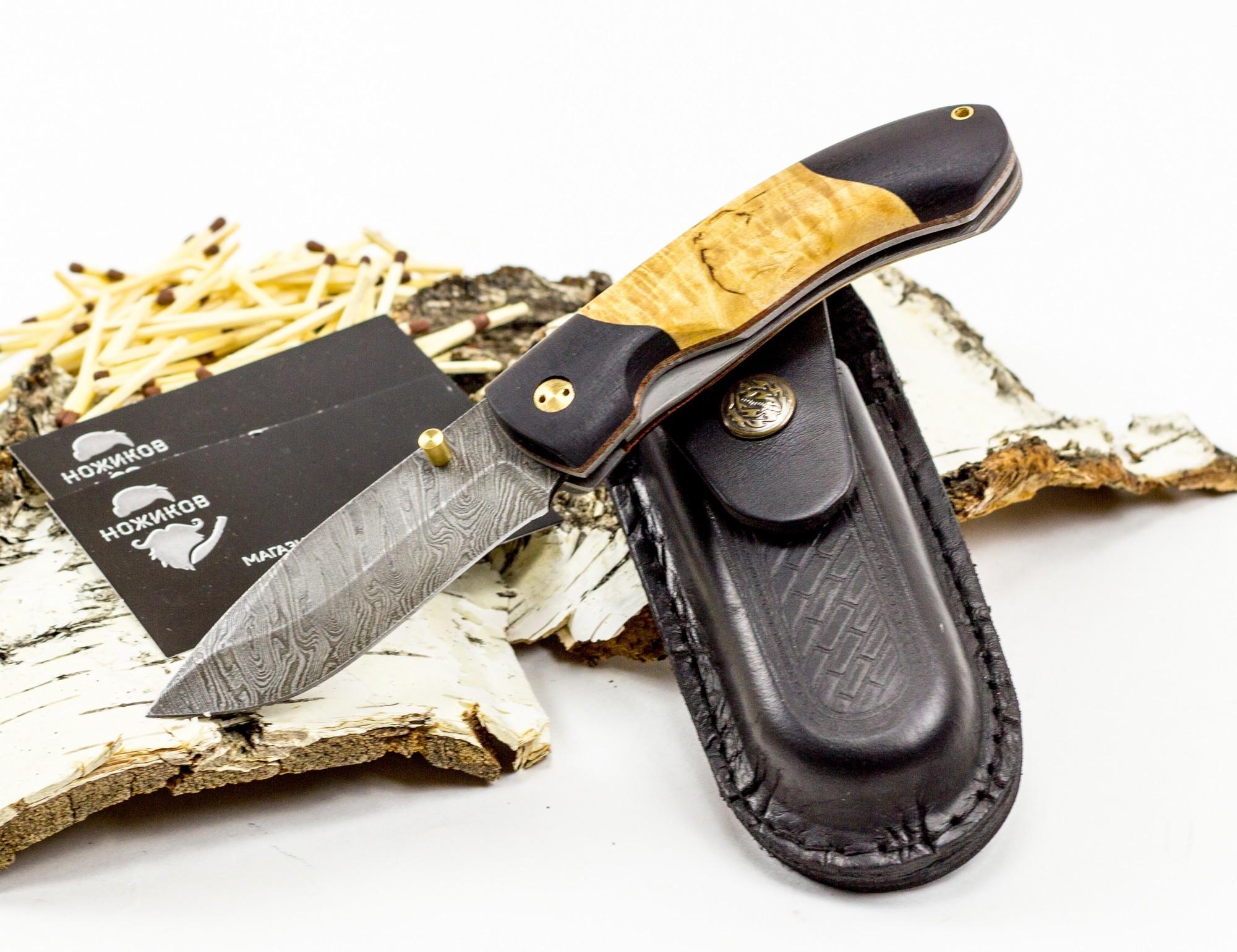 Нож складной Егерьский-2, дамаск, карельская береза