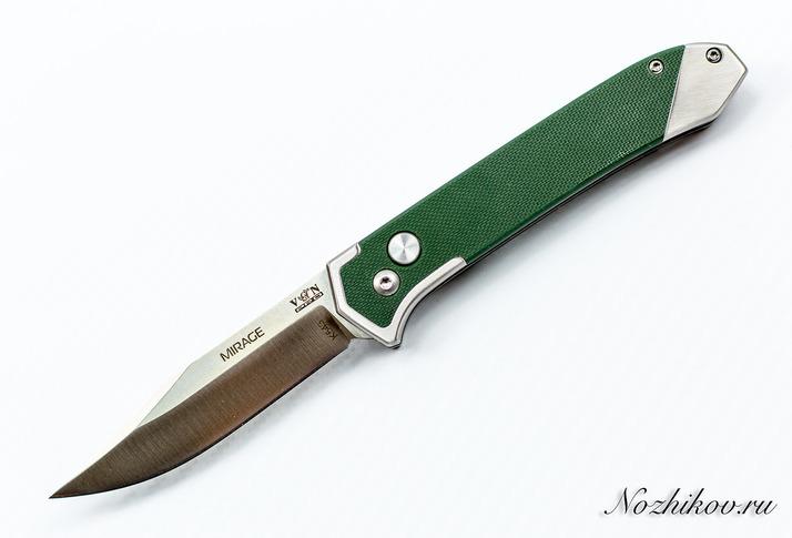 Складной нож MirageВыкидные и автоматические<br>Oбщая длина- 201 ммДлина клинка- 84 ммТолщина клинка- 3,1 ммСталь- AUS8Рукоять- G10, сталь<br>