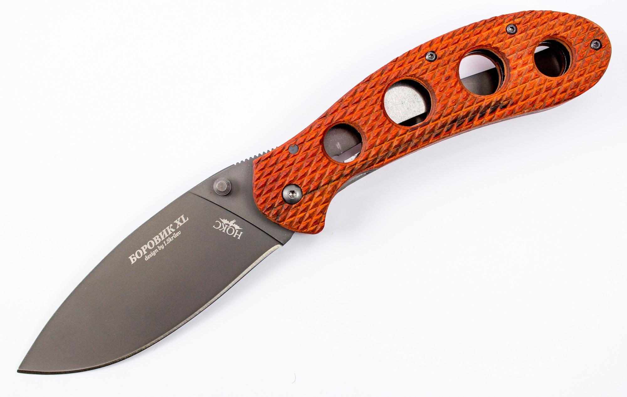Складной нож Боровик XLРаскладные ножи<br>Складной грибной нож Боровик XLНож Боровик XL с деревянными накладками на рукоятке и титановым покрытием металла.<br>