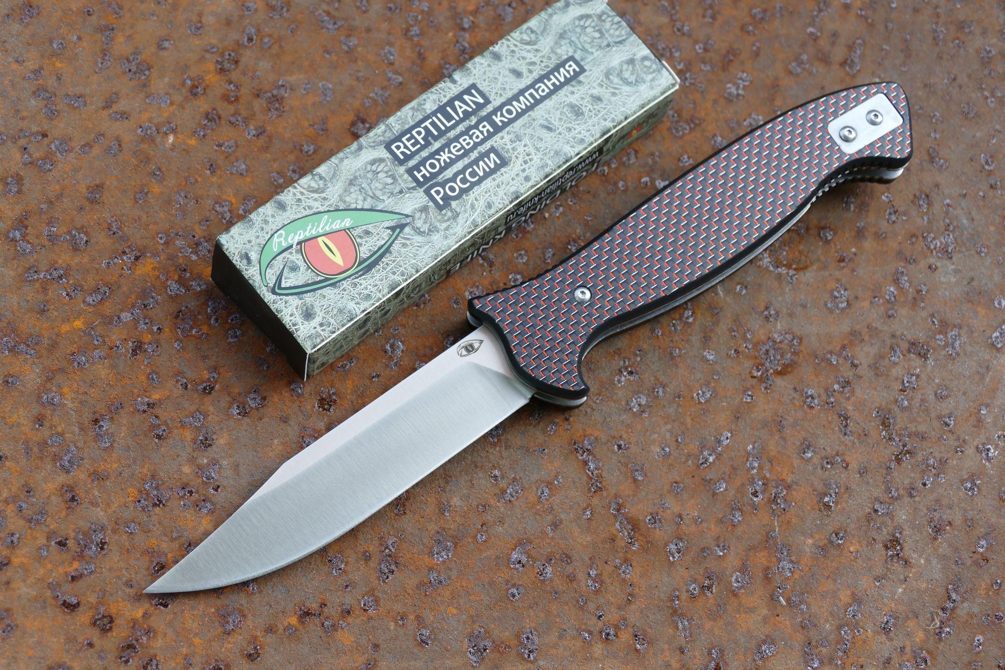 Складной Нож Разведчика, карбон красныйРаскладные ножи<br>марка стали: D2твёрдость: HRC60-61длина общая: 255ммдлина клинка: 113ммширина клинка наибольшая: 25ммтолщина обуха: 3.5ммобработка клинка: satinвес: 217гр<br>