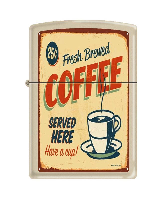 Зажигалка ZIPPO Чашка кофе, латунь с покрытием Cream Matte, кремовая, матовая, 36x12x56 ммЗажигалки с рисунками и принтами<br>Зажигалка ZIPPO Чашка кофе, латунь с покрытием Cream Matte, кремовая, матовая, 36x12x56 мм<br>