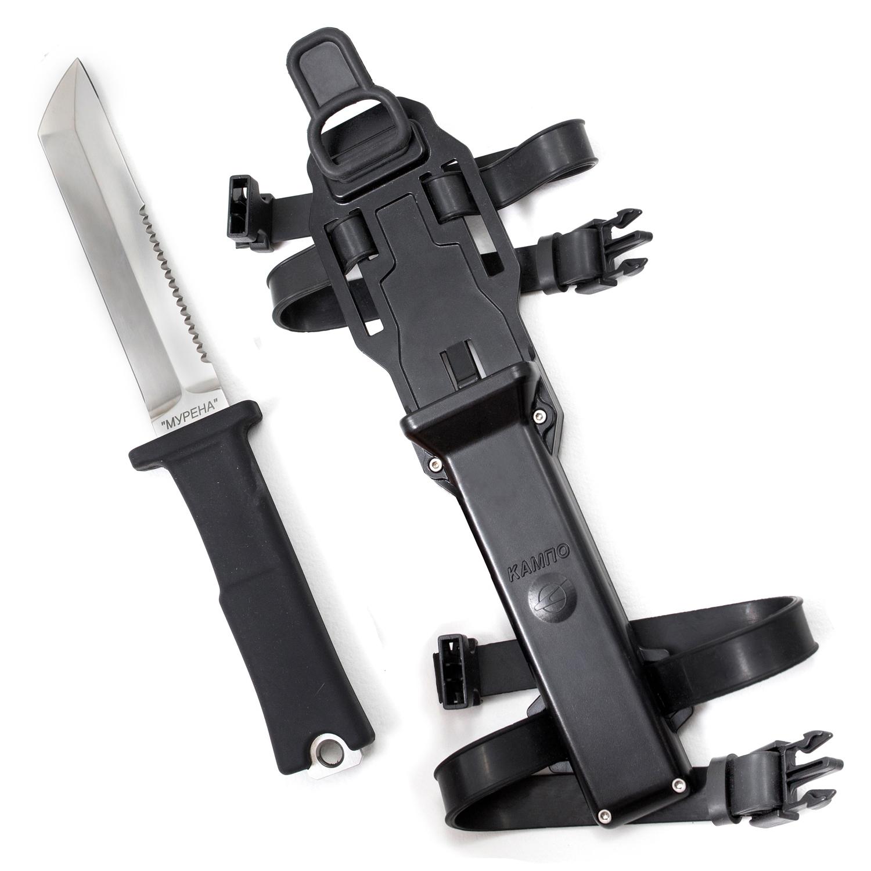 Нож МУРЕНА95х18<br>Специальный нескладной нож, конструктивно сходный с холодным оружием.<br>Удобная рукоять, изготовленная из специальной резины, обеспечивает надежную фиксацию в ладони от проскальзывания при работе под водой. Ножны, изготовленные из ударопрочного пластика, удобно крепятся на ноге пловца или водолаза.Нож «Мурена» предназначен для проведения водолазных, аварийно-спасательных и хозяйственно-бытовых работ, требующих применения режущего инструмента:- перерезания, перепиливания тросов из растительных или синтетических материалов;- очистки небольших участков поверхностей от илистых отложений, рыхлой ржавчины или отслаивающейся краски.<br>Нож выдерживает нагрузку, приложенную к середине его рукояти:при защемлении клинка на глубину 60 мм от острия – до 50 кгс; при закреплении клинка по всей длине – до 150 кгс.<br>Характеристики:Длина ножа – не более 300 мм;Длина клинка – не более 165 мм; ширина клинка – не более 30 мм.Габаритные размеры ножа с ножнами – не более 310х75х35 мм.Масса ножа с ножнами и элементами крепления – не более 1,2 кг.Масса ножа – не более 700 г.Для изготовления клинка используется сталь 95X18.<br>
