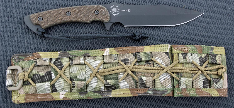 Нож с фиксированным клинком Horkos (Black SpartaCoat/Green Micarta/Multicamo Sheath) 14.5 см.