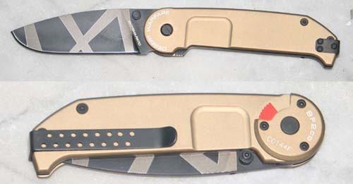 Складной нож BF2 Classic Drop Point Desert WarfareРаскладные ножи<br>Складной нож BF2 Classic Drop Point Desert Warfare, складной, клинок тигровый окрас, рукоять с отверстием бежевая, клипса.<br>